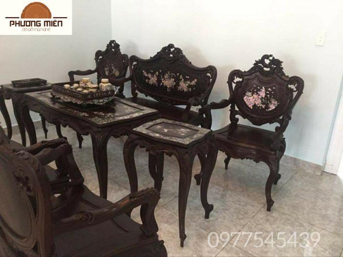 bộ bàn ghế lu-y kiểu Pháp gỗ gụ