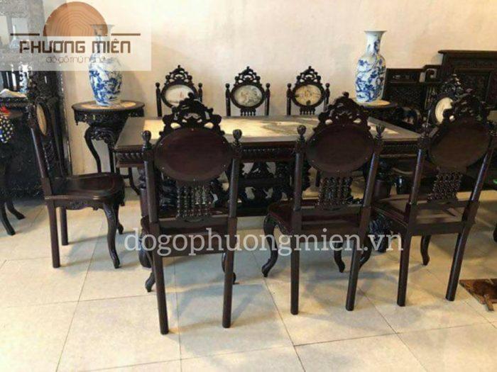 Bộ bàn ăn gỗ gụ mẫu luios kiểu Pháp