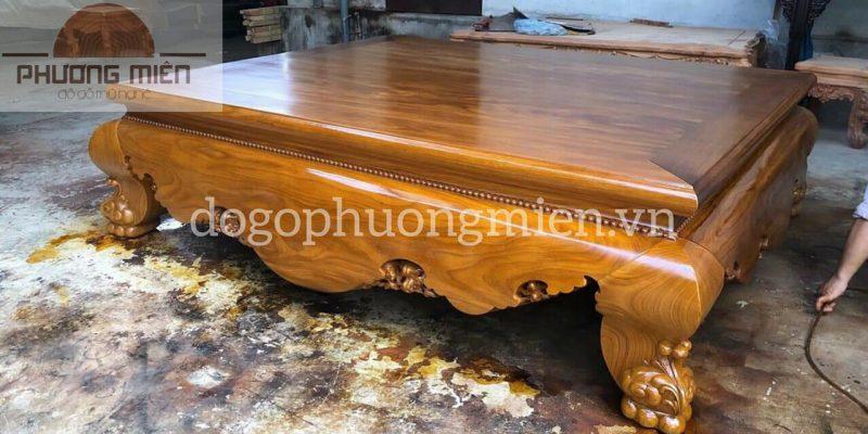 sập trơn gỗ cẩm vàng đẹp