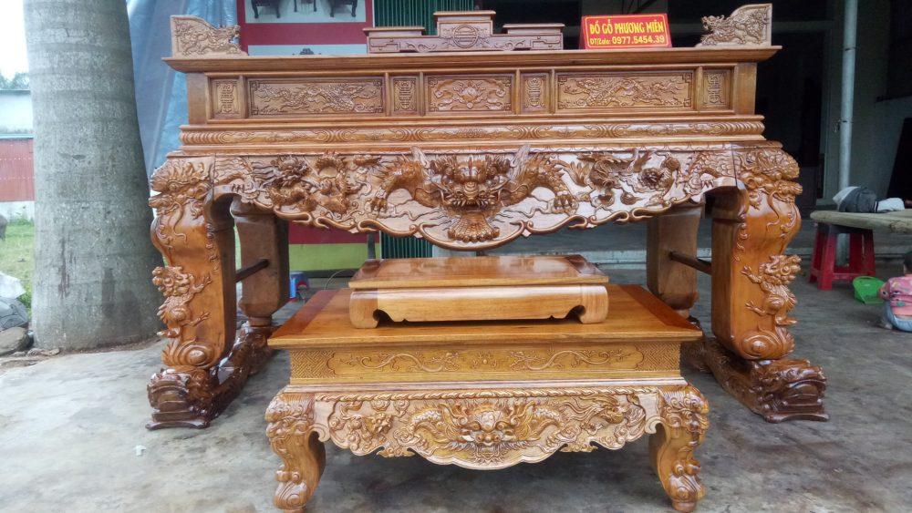mẫu sập thờ tứ linh gỗ gụ chân 24 tại Nam Định