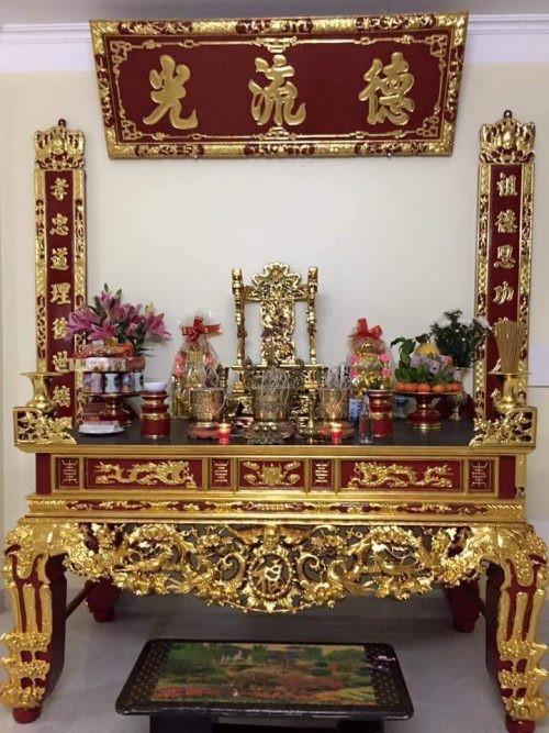 bàn thờ gỗ dổi sơn son thiếp vàng đẹp