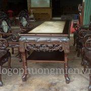 Bộ ghế trúc dưa ô đá gỗ gụ đẹp