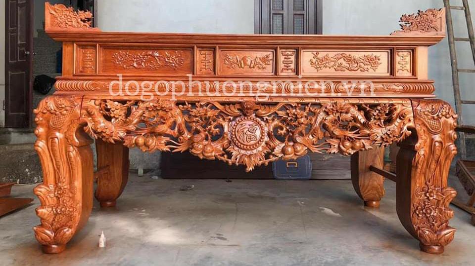 Sập thờ gỗ gụ chạm mai điểu tại Vĩnh phúc