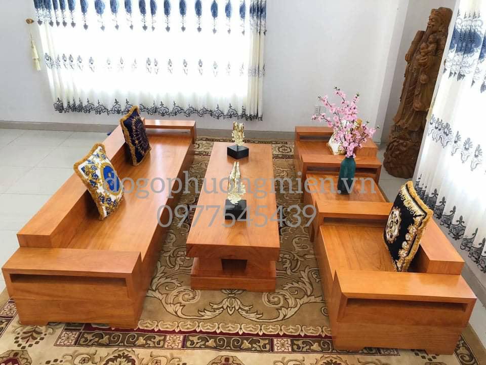 mẫu bàn ghế sofa gỗ nguyên khối đẹp