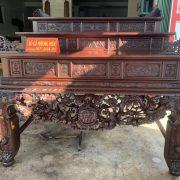 Sập thờ tam cấp gỗ gụ chạm mai điểu